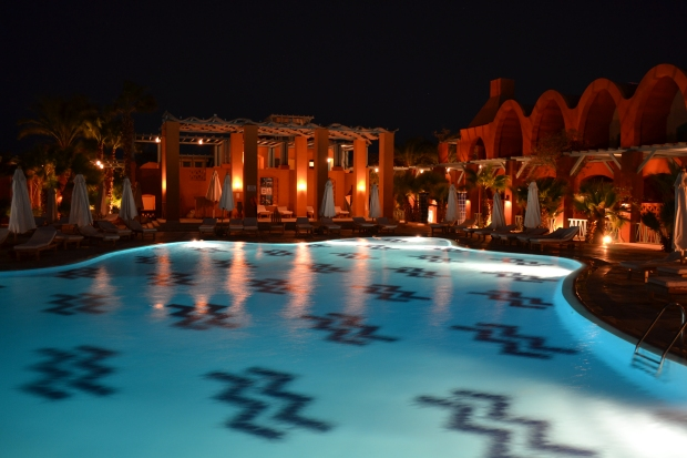 The central pool at the Sheraton Miramar.