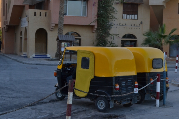 Local transportation: tuk-tuks take you anywhere around El-Gouna for a mere 5 L.E. Shuttle Buses were also available, but tuk-tuks are far more enjoyable.