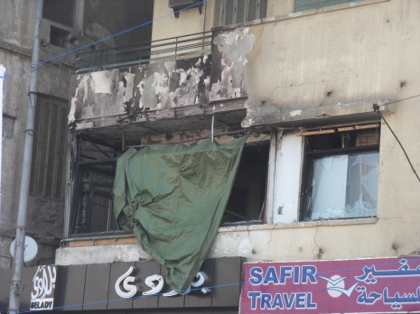 Al Jazeera Mubasher's burnt out office
