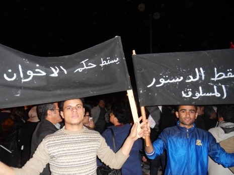 "The banner reads ""Down with the Muslim Brotherhood"""