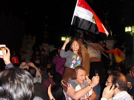 One of my favorite photos from the night. It is amazing to see how passionate Egyptians can be about their country.