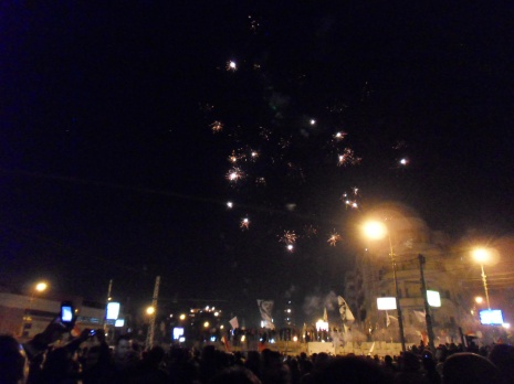 What is a protest without some fireworks? Sadly my camera wasn't great at capturing them.