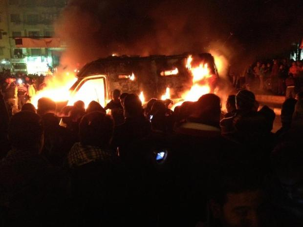 Another CSF APC vehicle on fire after being hijacked.