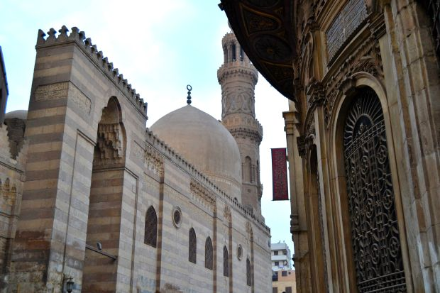 An ottoman period mosque located across the 14th-century madrasa in Khan El-Khalili