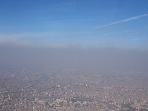 Smog over Cairo as seen from a plane.