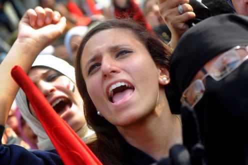 Egyptian women protesting for equality.