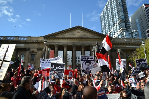 Crowds gathered at Melbourne's State Library