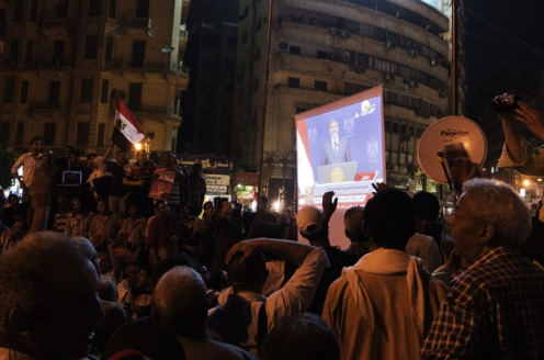 Anti-Morsi protesters in Tahrir Square react angrily to the President's speech ahead of June 30 demonstrations.