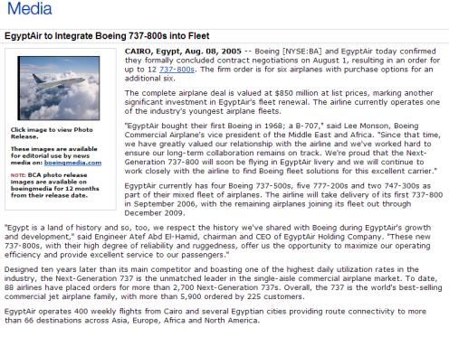 Boeing's Press Release