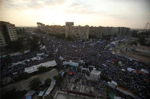 Morsi supporters gathered at Rabaa Al-Adaweya