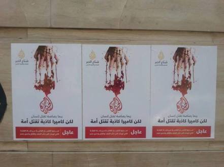 "Anti Al-Jazeera posters in Cairo accuse the news organization of ""lies"""