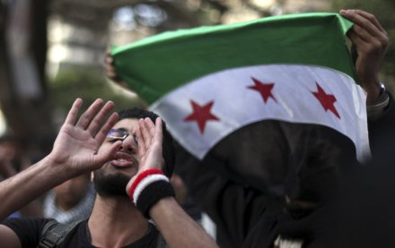 Anti-Assad protesters marched in Egypt earlier this year