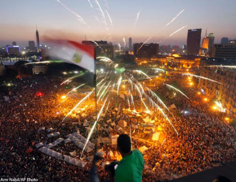Tahrir celebrates as Morsi is toppled from power