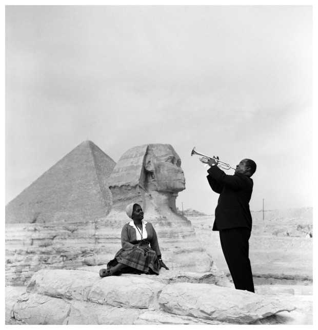 Louis Armstrong and his wife at the Pyramids in 1961