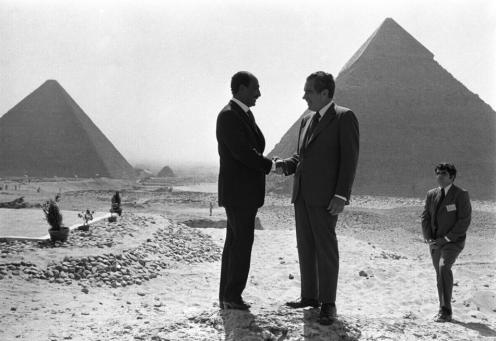 Former Egyptian President Anwar El-Sadat and Former US President Richard Nixon at the Pyramids in 1974