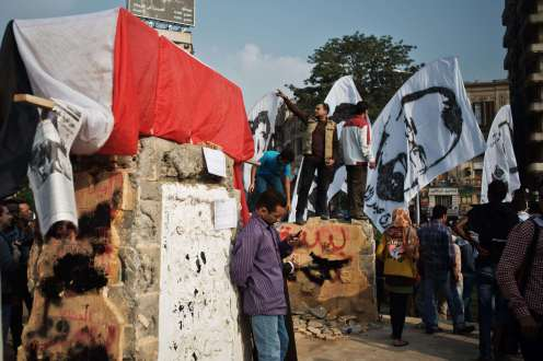 Less than 24 hours later, the Tahrir Square monument was vandalised and partly destroyed by protesters.