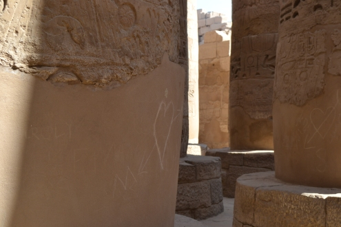 Love hearts and more petty graffiti plagues the ancient columns.