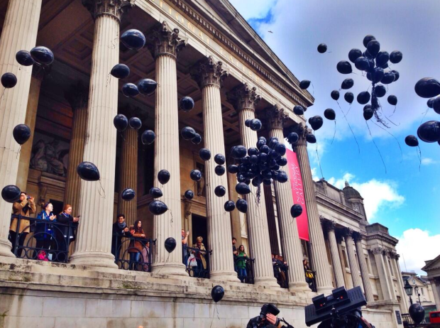 In London, black balloons were released. (via @LucyPawle from Twitter).