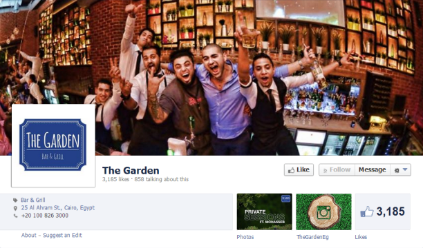 The Facebook page of The Garden