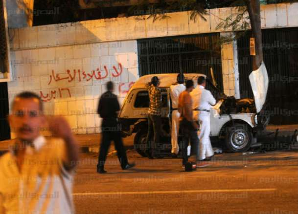 The scene of the fourth explosion in Egypt in the late hours of Friday. Credit: Al-Masry Al-Youm